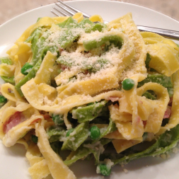 "Fettuccine ""Alfredo"" with Crispy Prosciutto and Peas"