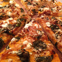 Eat Fit Not Fat- Sweet Potato and Kale Pizza with Caramelized Onions